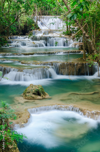 Deurstickers Watervallen Deep forest Waterfall in Kanchanaburi, Thailand