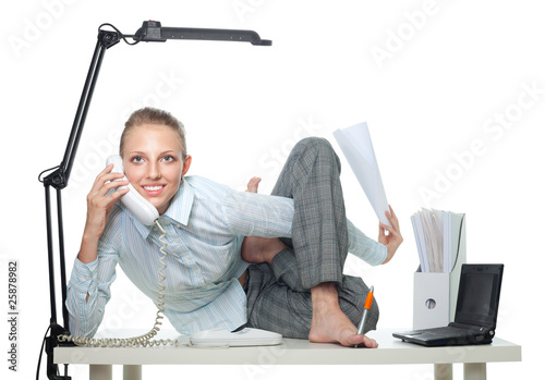 Fotografie, Obraz  Flexible business woman talk by phone