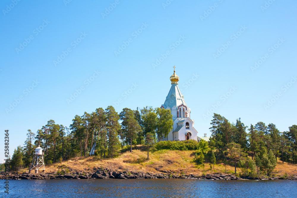 Fényképezés  Ladoga lake. Island Valaam. Beautiful churches.