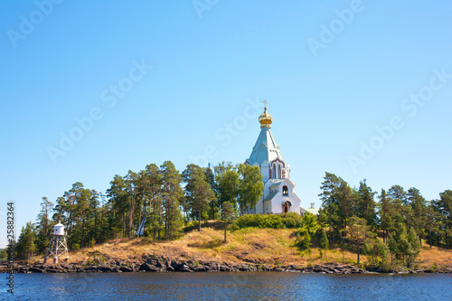 Fotografija Ladoga lake. Island Valaam. Beautiful churches.