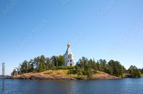 Vászonkép  Ladoga lake. Island Valaam. Beautiful churches.