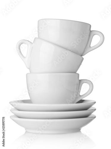 Coffee cups with saucers Fototapeta