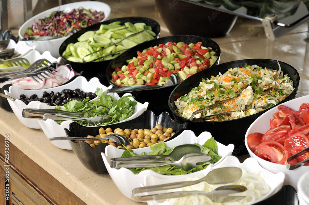 Fototapeta Buffet style food in trays
