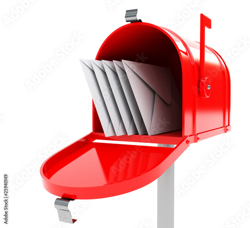 Fotografía  red mailbox with mails