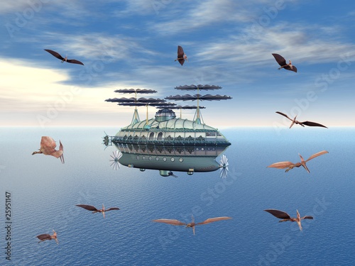 Fotografia Fantasy Airship with flying Dinosaurs