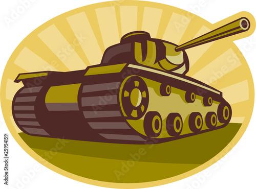 Deurstickers Militair World war two Battle tank