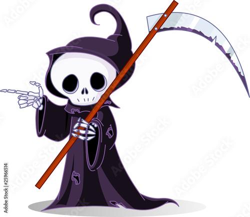 Printed kitchen splashbacks Fairytale World Cartoon grim reaper pointing
