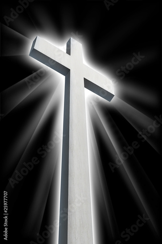 white cross shining in darkness Canvas Print