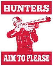 Hunter Aiming Shotgun Rifle Hunters Aim To Please