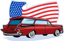 Vintage Station Wagon With American Flag
