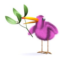 3d Pink Bird Under The Mistletoe