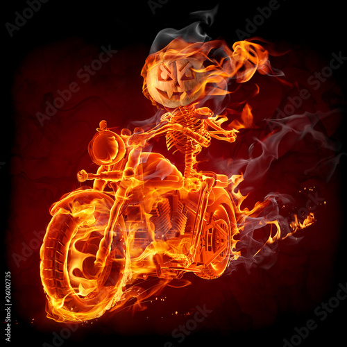 Recess Fitting Flame Burning pumpkin riding a motorcycle