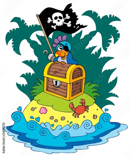 Poster de jardin Pirates Treasure island with pirate parrot