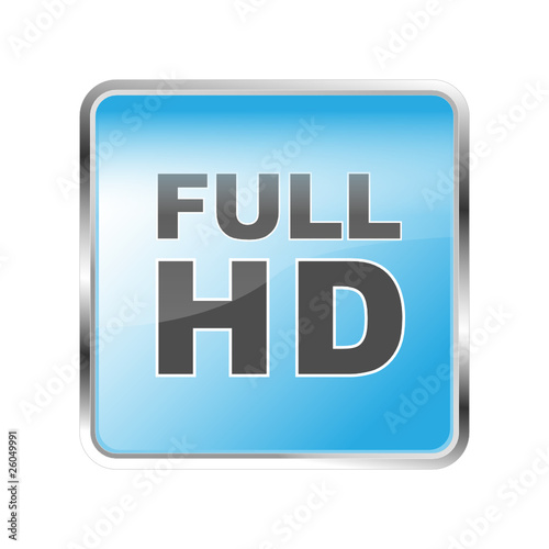 FULL HD TV Button blau - Buy this stock vector and explore