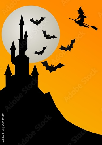 Castello Halloween.Luna Pipistrelli E Castello Di Halloween Buy This Stock