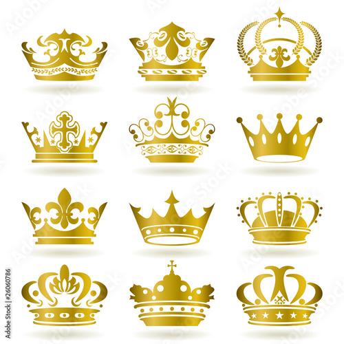 Foto Gold 12 Crown Icons Set