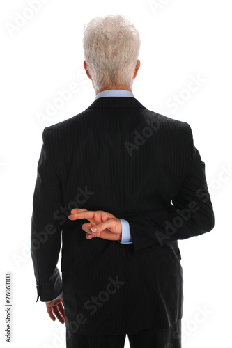 Tablou Canvas Businessman With Fingers Crossed