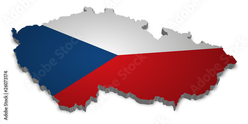 Czech Republic 3D with flag Fototapet
