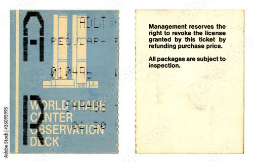 World Trade Center admittance ticket. New York, USA. Poster
