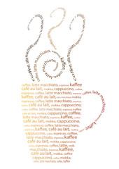Panel Szklany Do kawiarni Tasse Kaffe aus Wörtern