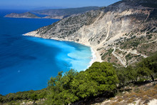 The Famous Myrtos Beach Of Kefalonia - Arial View