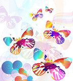 a flock of colorful butterflies