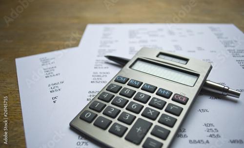 Fotografie, Obraz  Calculator, pen and numbers