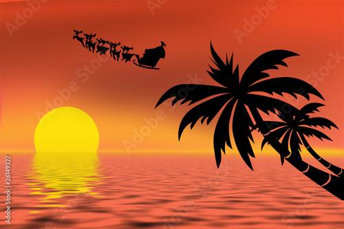 Poster de jardin Rouge Santa Claus riding his sleigh over a tropical ocean