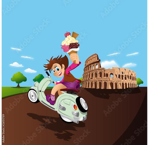 Poster Motocyclette illustration scooter et glace à Rome