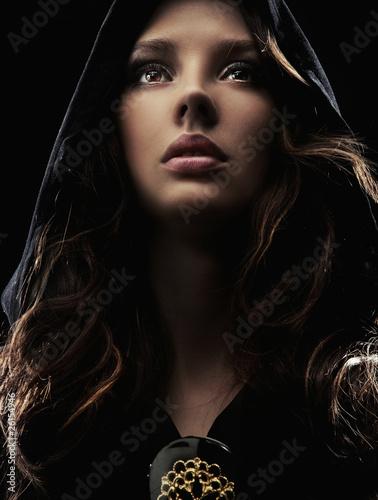 Fényképezés  Portrait of a mysterious woman in hood