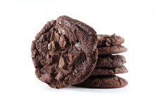 Stack Of Double Chocolate Chip Cookies On Isolated Background