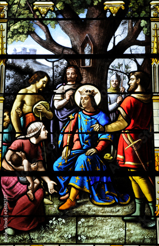 Spoed Foto op Canvas Stained France, vitraux de l'église d'Houlgate en Normandie