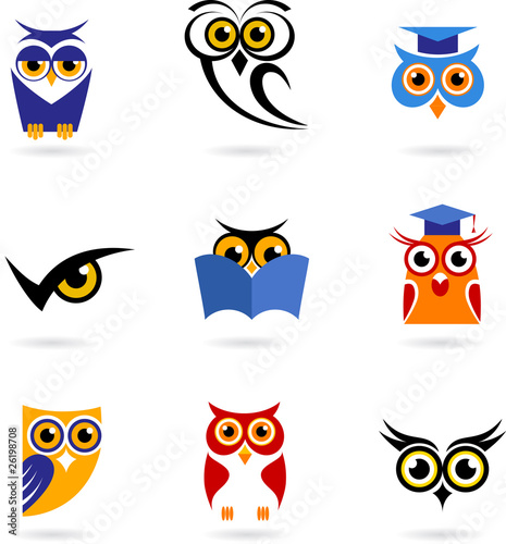 Poster Uilen cartoon Owl icons and logos