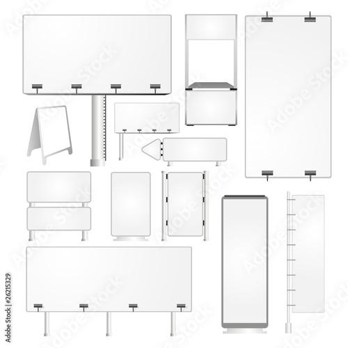 Obraz Set of blank advertising billboards and panels - fototapety do salonu