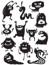 Silhouettes Of Cute Doodle Mon...