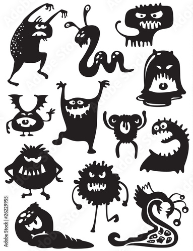 Fotografía  Silhouettes of cute doodle monsters-bacteria