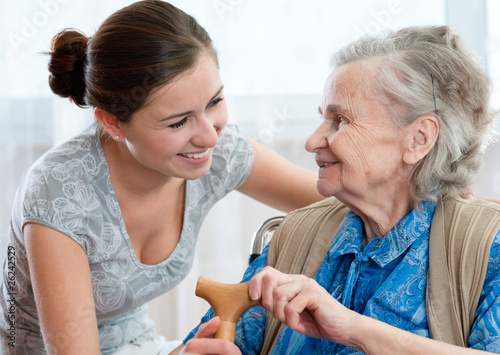 Fotografie, Obraz  Senior woman with her home caregiver
