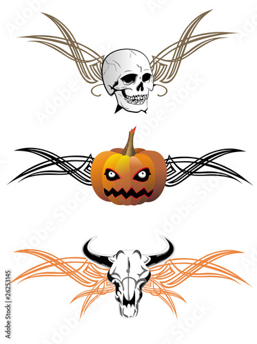 Fotobehang Draw Set of Halloween elements with wings