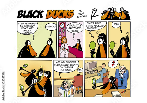 Spoed Fotobehang Comics Black Ducks Comic Strip episode 57