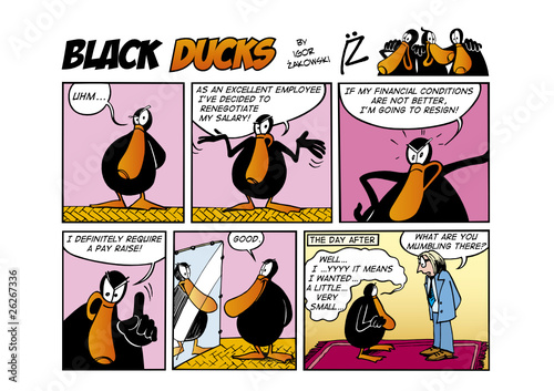 Spoed Foto op Canvas Comics Black Ducks Comic Strip episode 56