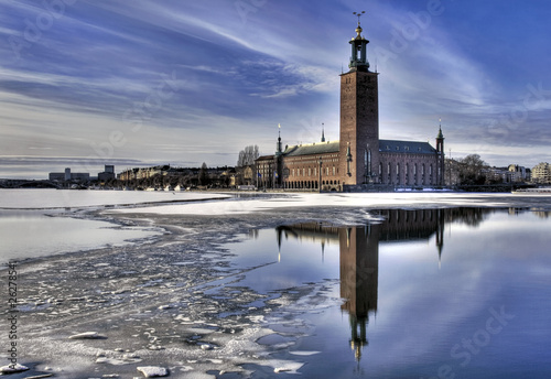 Poster Stockholm Winter image of Stockholm City hall.