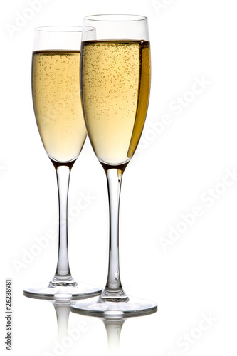 Fotografie, Obraz  A glass of champagne, isolated on a white background.