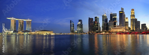 Photo Stands Singapore Singapore Cityscape from the Esplanade Panorama