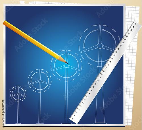 Wind generator blueprint vector background with pen buy this stock wind generator blueprint vector background with pen malvernweather Image collections