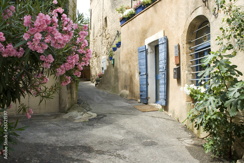 Photo  French Village Street view Flower Provence France