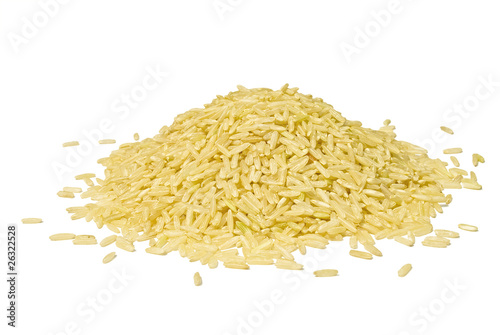 Fotografie, Obraz  Pile of brown long rice isolated over white