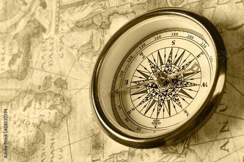 Fototapety, obrazy: Old compass on ancient map