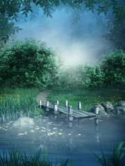 Fototapeta Fantasy Niebieska sceneria z jeziorem i kładką