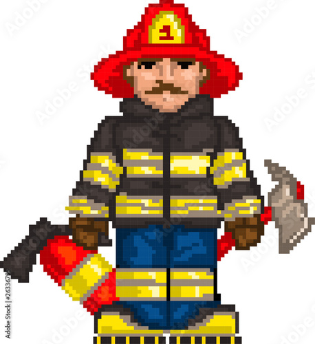 Door stickers Pixel PixelArt: Firefighter