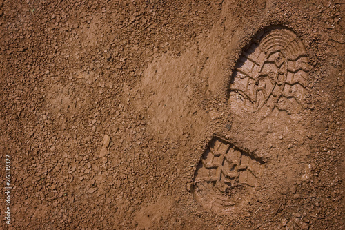 Footprint on mud with copy space Canvas Print